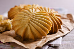 Dry brown pastry. Round shape pattern. Selective focus Stock Photography