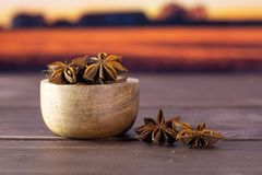 Dry brown star anise fruit autumn field behind. Lot of whole dry brown star anise fruit with wooden bowl with autumn field and sunset in background royalty free stock images