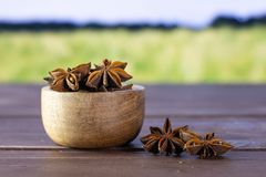 Dry brown star anise fruit with field behind. Lot of whole dry brown star anise fruit with wooden bowl with green wheat field in background royalty free stock photo