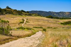 Trail through a field going back toward mountains royalty free stock image