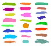 Dry brush, pen, marker, colored strokes set. Hand drawn vector royalty free illustration