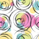 Colorful artistic seamless pattern design. Dry brush stroke textured circles abstract colorful seamless pattern design royalty free illustration