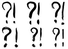 Dry brush strokes, hand drawn vector question marks and exclamation signs. Royalty Free Stock Images