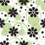 Abstract seamless pattern design with flowers and circles. Dry brush textured flowers and circles abstract seamless pattern design Stock Photography