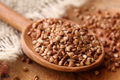 Dry buckwheat groats stock image
