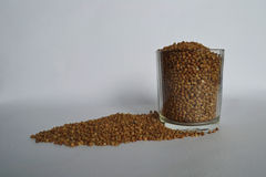 Dry buckwheat seeds in a glass stock photo
