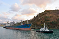 Dry bulk ship in harbor Stock Photos