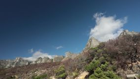 Dry burned fynbos and clouds stock footage