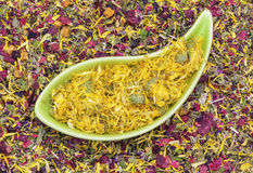 Dry calendula in green bowl with herbal tea Royalty Free Stock Photos