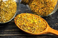 Dry calendula in spoon. Dried calendula flowers in jars of glass and a wooden spoon on the table Royalty Free Stock Photo