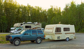 Dry-camping along the alaska highway Stock Image