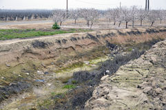 Dry canal for irrigation. Dry deep canal for irrigation in California Royalty Free Stock Images