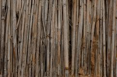 Dry cane and clay texture of a mud hut of a structure brown close up Stock Photo