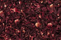 Dry carcade  tea, a creative texture background, red flowers of hi. Dry carcade  tea, creative texture background, red flowers of hibiscus Stock Photography