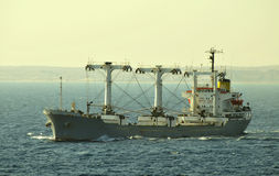 Dry cargo carrier ship. Designed for transportation of general cargo Royalty Free Stock Photos