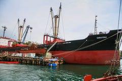 Dry cargo ship Saratoga. In the bay of the city of Sevastopol. Crimea, Ukraine. May, 2009 Royalty Free Stock Photos