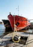 Dry cargo ships docked at Quay Lieutenant Schmidt in St. Petersb Royalty Free Stock Image