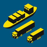 Dry cargo and trucks. Freight transport illustration, dry cargo and trucks Stock Photos