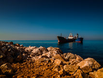Dry Cargo Vessels Near The Shoreline Royalty Free Stock Image