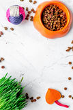 Dry cat food in bowl on stone background top view Royalty Free Stock Images