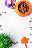 Dry cat food in bowl on stone background top view Stock Image