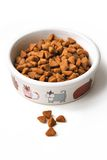 Dry cat food in a ceramic bowl Stock Photo