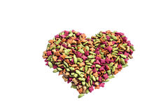 Dry cat food heart shape Stock Photography