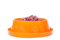 Dry cat food in orange bowl isolated on white background Royalty Free Stock Images