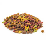 Dry cat food on a white background.  stock photo