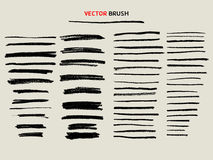 Dry chalk texture brush set. Dry chalk texture brush, thin and bold stoke Stock Images