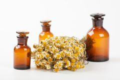 Dry chamomile and a bottles Royalty Free Stock Images