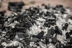 Dry charcoal and Ash Stock Photo