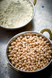Dry chick-pea in the Indian copper bowl Royalty Free Stock Photos