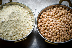 Dry chick-pea in the Indian copper bowl Stock Photo