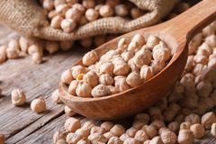 Dry chickpeas close up in a wooden spoon horizontal Royalty Free Stock Images
