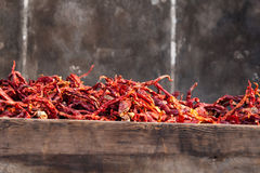 Dry chili. Dry red chilli closeup on the street,taken in pingyao ,china Royalty Free Stock Photos