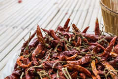 Dry chili on bamboo table. Dry red chili on bamboo table Royalty Free Stock Photography