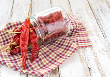 Dry chili in bottle on wooden background Royalty Free Stock Images