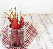 Dry chili in bottle on wooden background Stock Photo