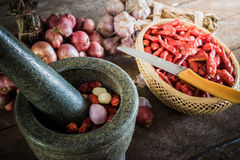 Dry chili pepper and red onion and garlic and stone mortar on an Royalty Free Stock Photos