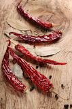 Dry chili pepper on wooden surface Royalty Free Stock Image