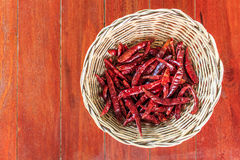 Dry chili peppers. On the wood table Royalty Free Stock Images