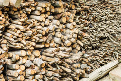 Dry chopped firewood logs in a pile Royalty Free Stock Photography