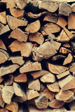 Dry Chopped Firewood Logs in a Stack Royalty Free Stock Image
