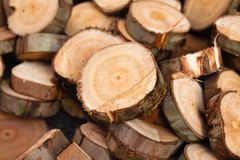 Dry chopped firewood logs stacked up on top of each other. Dry chopped firewood logs stacked up on top of each other in a pile royalty free stock photography