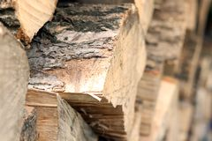 Dry chopped firewood for winter stock photography