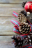 Dry Christmas pine cone with a ribbon Royalty Free Stock Photos