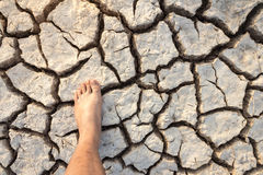 Dry clay land foot Royalty Free Stock Photography