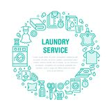 Dry cleaning, banner illustration with blue flat line icons. Laundry service equipment washing machine clothing leather. Dry cleaning, banner illustration with Royalty Free Stock Photography