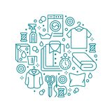 Dry cleaning, banner illustration with flat line icons. Laundry service equipment, washing machine, clothing shoe. Leather repair, garment, shirts. Circle Stock Images